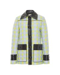 Emilio Pucci | Blue Jacquard Jacket With Leather Trim | Lyst