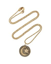 Sydney Evan | Black Pave Moon And Star Medallion Charm | Lyst