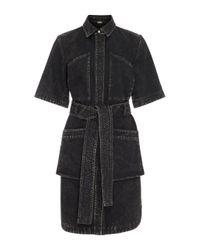 Adam Lippes | Black Short Sleeve Belted Dress | Lyst