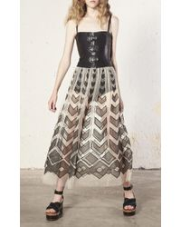RED Valentino Black Point D'esprit Organza Cut Outs