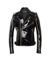 Balmain   Black Patent Leather Biker Jacket   Lyst