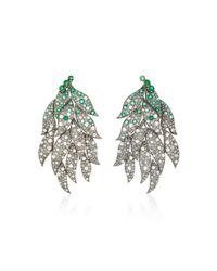 Sanjay Kasliwal | Metallic 18k Gold, Diamond And Emerald Earrings | Lyst