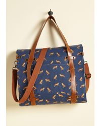 ModCloth - Blue Camp Director Snapped Tote In Foxes - Lyst