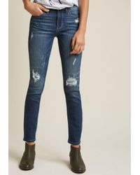 ModCloth Blue Casual Company Distressed Skinny Jeans