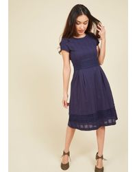 ModCloth | Blue Fall Where They Maze Midi Dress | Lyst