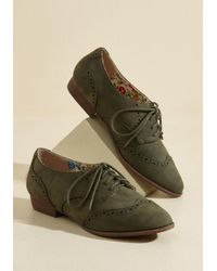 Restricted - Green Walking On Wingtip-toes Oxford Flat - Lyst