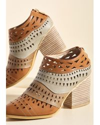 ModCloth - Brown Lively In Layers Block Heel Bootie - Lyst