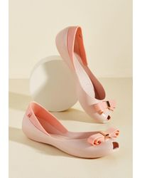 Melissa | Bow Out Of Your Way Peep Toe Flat In Pink | Lyst