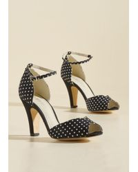Chelsea Crew | Fine Dining Peep Toe Heel In Dotted Black | Lyst