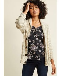 ModCloth | Natural Button-up Cardigan With Shawl Collar | Lyst