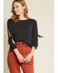 ModCloth - Black Tied And Succeeded 3, 4 Sleeve Top - Lyst