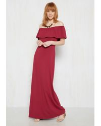 ModCloth Red When The Going Gets Ruffle Dress In Maroon