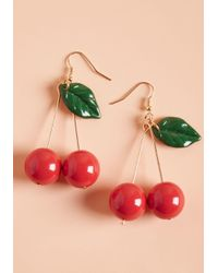 ModCloth - Red Drupe Hug Earrings - Lyst