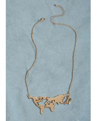 ModCloth | Metallic There's A Map For That Necklace In Gold | Lyst