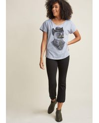 ModCloth - Gray Man's Best-dressed Friend Graphic Tee In Cat - Lyst