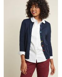 ModCloth | Blue Charter School Crew Neck Cardigan In Rainbow Buttons | Lyst
