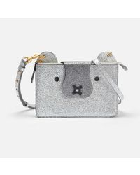 Anya Hindmarch - Multicolor Husky Crossbody Pouch In Silver Crinkled Metallic Leather - Lyst