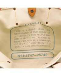 COACH Multicolor Horse And Carriage 42 Tote Bag In White Canvas