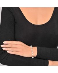 Ginette NY White Pearls And Tube On Chain Bracelet