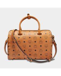 MCM - Brown Boston Medium Bag With Patches In Cognac Visetos - Lyst