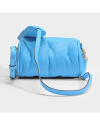 Anya Hindmarch Chubby Barrel Crossbody Bag In Blue Quilted Calf Leather