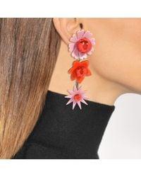 KENZO - Multicolor Flowers Earrings In Paprika Metal And Plexi Flowers - Lyst