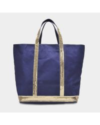 Vanessa Bruno - Blue Canvas And Sequins Medium Tote Bag In Indigo And Gold Cotton - Lyst