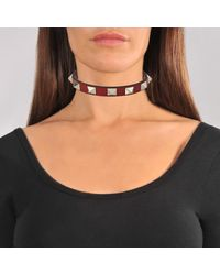 Valentino Red Rockstud Leather Choker