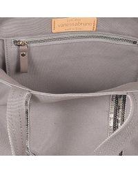Vanessa Bruno - Gray Canvas And Sequins Medium Tote Bag In Parma Cotton - Lyst