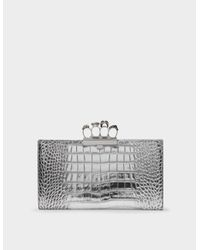 Alexander McQueen Metallic Skull Four Ring Clutch In Silver Embrossed Leather