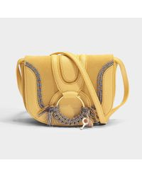 See By Chloé Multicolor Hana Mini Crossbody Bag In Pineapple Yellow Grained And Suede Cowhide Leather With Rope