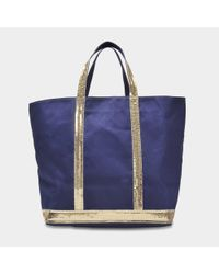 Vanessa Bruno - Blue Canvas And Sequins Medium + Tote Bag In Indigo And Gold Cotton - Lyst