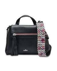 Hogan - Horizonal Mini Tote Bag In Black Grained Calfskin - Lyst