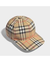 Burberry - Multicolor Vintage Check Baseball Cap In Beige Cotton - Lyst