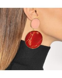 Joanna Laura Constantine - Red Monochrome Statement Earrings In Gold-plated Brass With Yashma And Light Pink Coral - Lyst