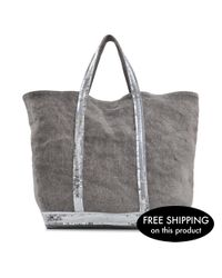 Vanessa Bruno | Gray Sequins And Linen Medium + Tote | Lyst