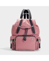 Burberry The Rucksack Medium Backpack In Mauve Pink Nylon