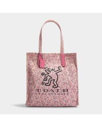 COACH Keith Haring Tote Bag In Bright Pink Canvas