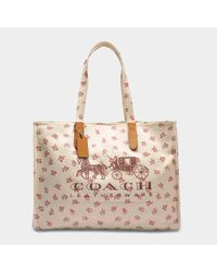 f618ade71e Lyst - COACH Horse And Carriage 42 Tote Bag In White Canvas