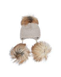 Inverni - Natural 3 Pompom Cashmere Beanie - Lyst