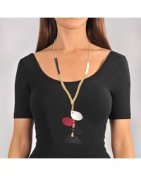 Marni - Black Necklace With Petal Leather Pieces - Lyst