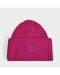 Acne Pansy N Face Beanie In Magenta Pink Wool