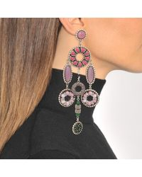 Marc Jacobs - Multicolor Jeweled Statement Earrings In Pink Brass - Lyst