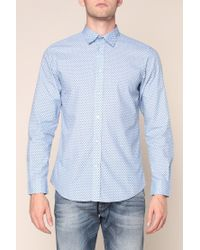 DIESEL - Blue Dot Print Cottonpoplin Shirt for Men - Lyst
