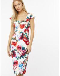 Monsoon White Emilia Print Dress