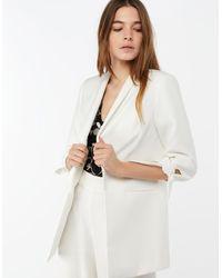 Monsoon White Hayley Tie Sleeve Jacket