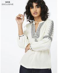 Monsoon White Gina Embroidered Shirt