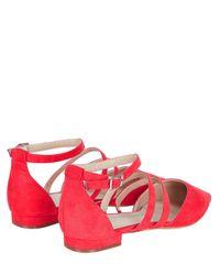 Monsoon | Red Myra Multi Strap Pointed Ballerina Flats | Lyst