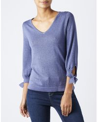 Monsoon - Blue Verona V Neck Tie Cuff Top - Lyst