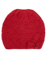 Monsoon Red Lacey Bow Pearl Beanie Hat